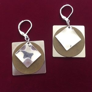 Geometric Mixed Metal earrings, NWT
